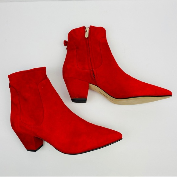 Red Suede Ankle Boots | Poshmark